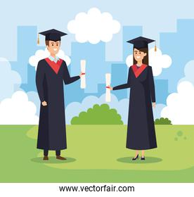 man and woman university graduation with rope and cap