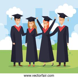 happy women and men university graduation with rope and cap