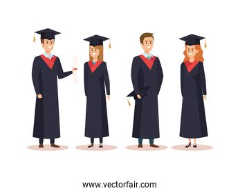 set of men and woman university graduation with rope