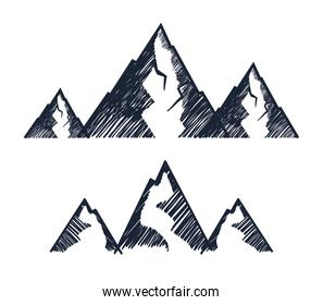 set of line snowy mountains over white background