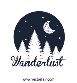 label of pine trees landscape with moon and stars