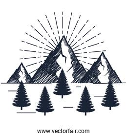 snowy mountains with pines trees to wanderlust explorer