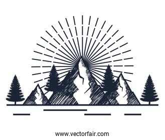 snowy mountains with pines trees to wanderlust adventure