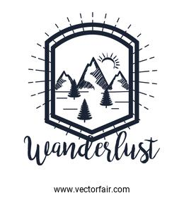 label of snowy mountains with pines trees to wanderlust