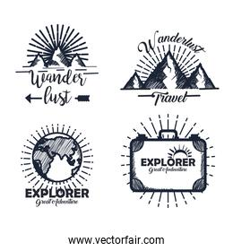 set of labels with snowy mountains and pines trees with earth planet