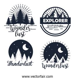 set of labels with pines trees and snowy mountains with moon