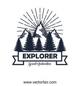 snowy mountains with pines trees and ribbon to wanderlust explorer