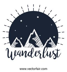 label of snowy mountains with stars to wanderlust travel