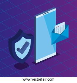 isometric smartphone technology with shield security and letter