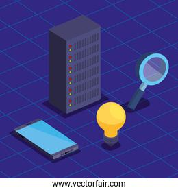hard storage tower server with smartphone and magnifying glass