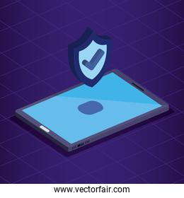 isometric smartphone technology with shield security