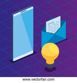 smartphone technology with bulb and letter with document