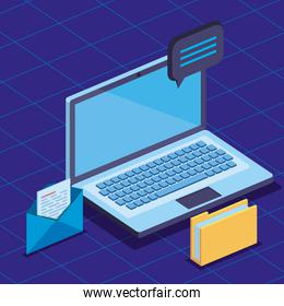 laptop technology with folder and letter document