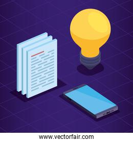 smartphone technology with bulb and documents information