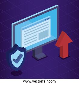isometric computer technology with document and shield security