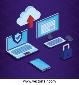 laptop and computer with smartphone technology and cloud data upload