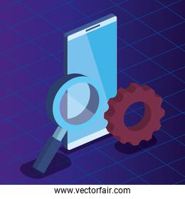 smartphone technology with magnifying glass and gear