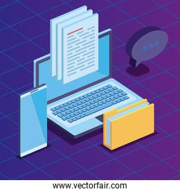 laptop and smartphone technology with folder documents and chat bubble