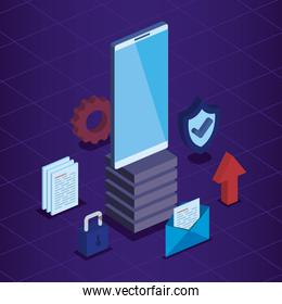 smartphone technology with padlock and shield security with documents