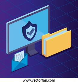computer technology with shield security and folder documents