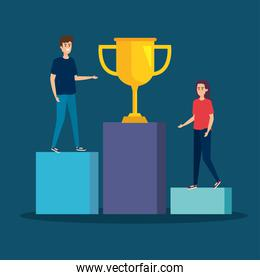 woman and man in the statistics bar with prize cup