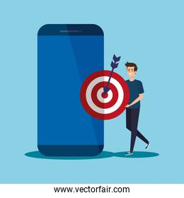 man with smartphone technology and target with arrow