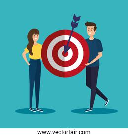 woman and man with target business information