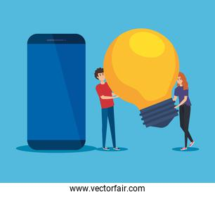 man and woman with bulb idea and smartphone technology
