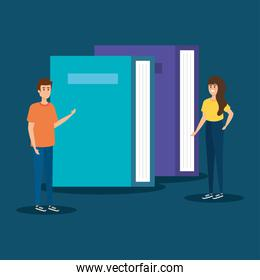 woman and man with office books information