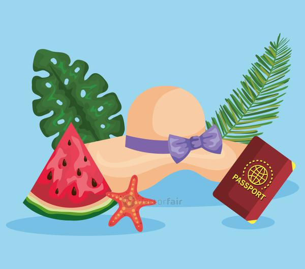 hat with watermelon fruit and passport with starfishes and leaves
