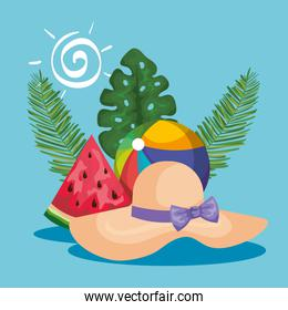 hat with beach ball and watermelon fruit with leaves plants