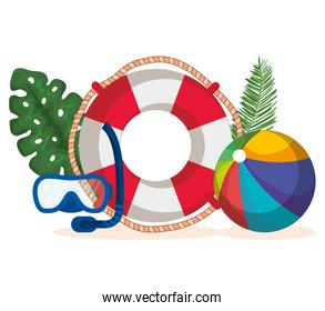 float with snorkel masks and beach ball with leaves plants