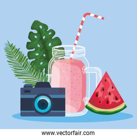 smoothie beverage with watermelon fruit and camera with leaves