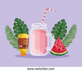 watermelon fruit with smoothie beverage and suncream with leaves