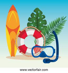 surfboard with float and snorkel masks with leaves plants