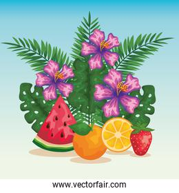 flowers with exotic fruits and tropical leaves