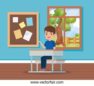 boy child in the classroom with window and desk
