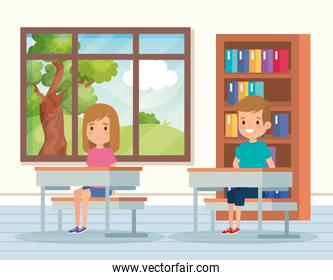 boy and girl children in the academic classroom