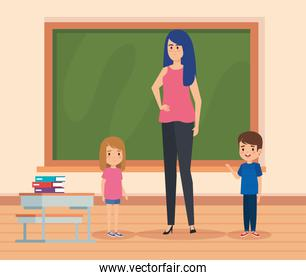 woman teacher with kids in the classroom and blackboard