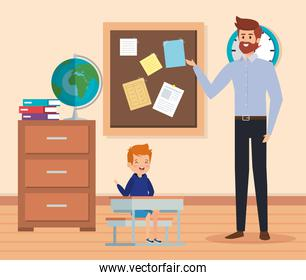 man teacher in the classroom with boy and books