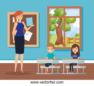 woman teacher in the classroom with kids and desks