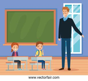 man teacher in the classroom with kids and blackboard