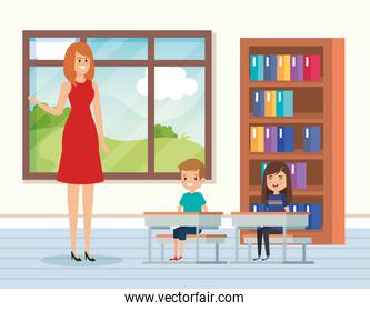 woman teacher in the classroom with kids and books