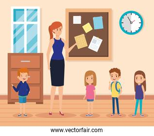 woman teacher with kids in the classroom and note board