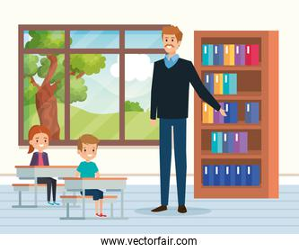 man teacher with kids in the classroom and window