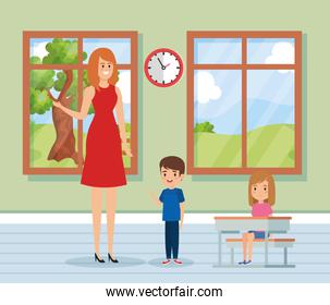 woman teacher in the classroom with kids and clock