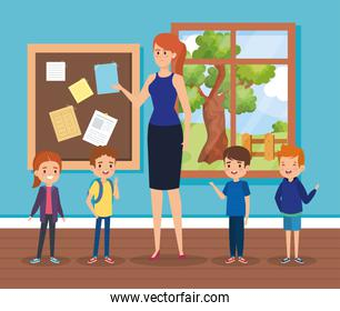 woman teacher in the classroom with note board and kids