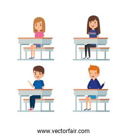 set of girls and boys kids in the desk