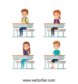set of boys and girls kids in the desk