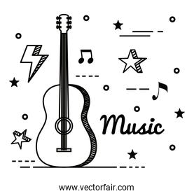 guitar instrument with musical notes and stars